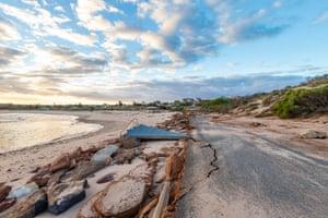 Storm damage is seen at Chinaman's Beach.