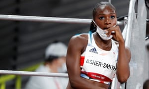 Dina Asher-Smith of Britain reacts.