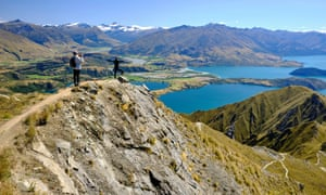 (EDITORS NOTE: A polarizing filter was used for this image<br>ROYS PEAK, WANAKA, OTAGO, NEW ZEALAND - 2020/02/29: (EDITORS NOTE: A polarizing filter was used for this image.) Tourists taking pictures of the views of Lake Wanaka from Roy's peak. Otago, South Island, New Zealand. (Photo by Jorge Fernández/LightRocket via Getty Images)