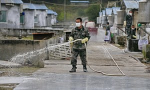 A worker disinfects a hog pen in Suining, Sichuan province as a precaution against swine flu.