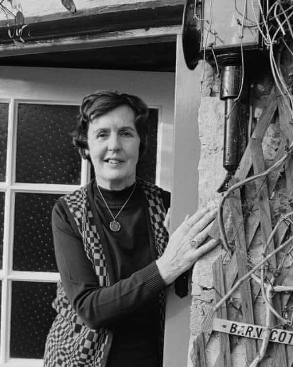 Barbara Pym, pictured at the front door of her home in Finstock, Oxfordshire in 1979.