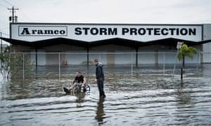 A flooded street while Hurricane Henry passes through Galveston, Texas.