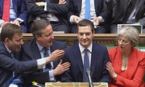 Conservative colleagues cheer George Osborne after his 2016 budget