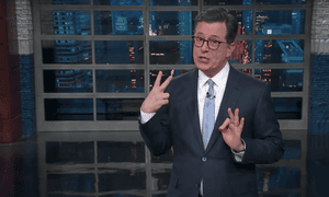 'Still, it's refreshing to hear about a powerful man being fired for something other than flashing his junk,' said Stephen Colbert.