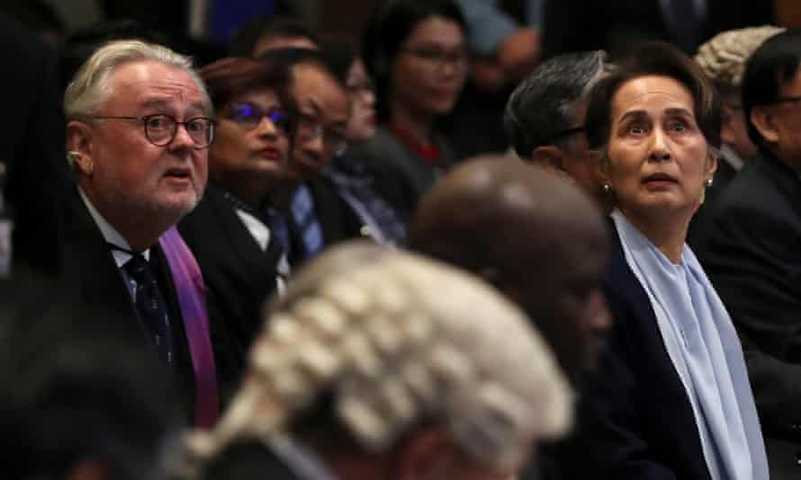 Suu Kyi in the hearing in the international court of justice in The Hague
