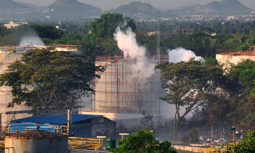 Smoke rises from the site of a chemical factory in Visakhapatnam on Thursday.