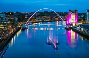 The water sculpture installation on the River Tyne.