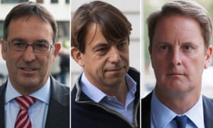 Former Tescos directors Chris Bush, Carl Rogberg and John Scouler, arrive at Westminster magistrates court in London.