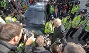 Boris Johnson leaves his home in Islington, north London.