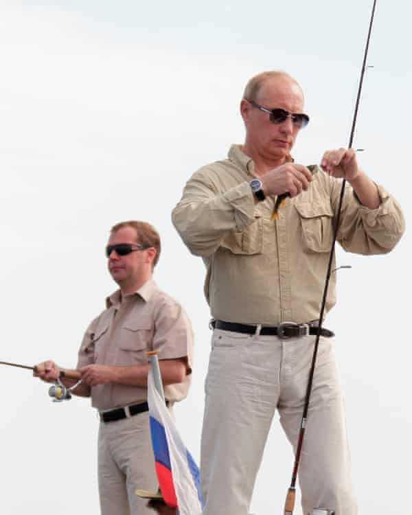 Medvedev and Putin fishing on the river Volga in Russia's Astrakhan region in 2011.