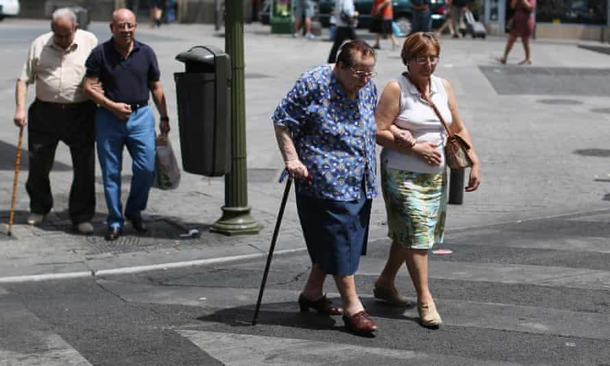 Older people in Madrid, Spain.