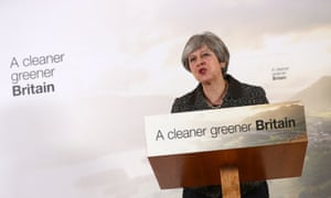 Prime Minister Theresa May unveiling the government's 25-year plan for the environment.