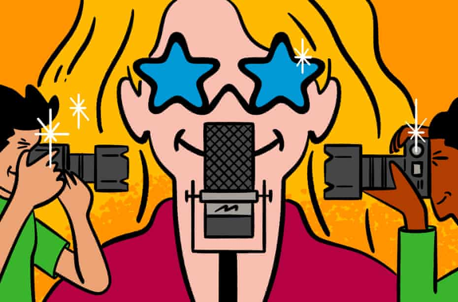 Illustration by Philip Lay of a celebrity podcast host