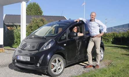 Marcus Borley and his wife Hege have this electric runabout for the city … but still run a diesel car for family trips.