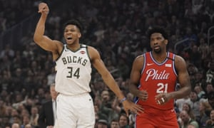 Giannis Antetokounmpo during the Bucks' victory over the 76ers last month. They have a strong record against the best teams in the league