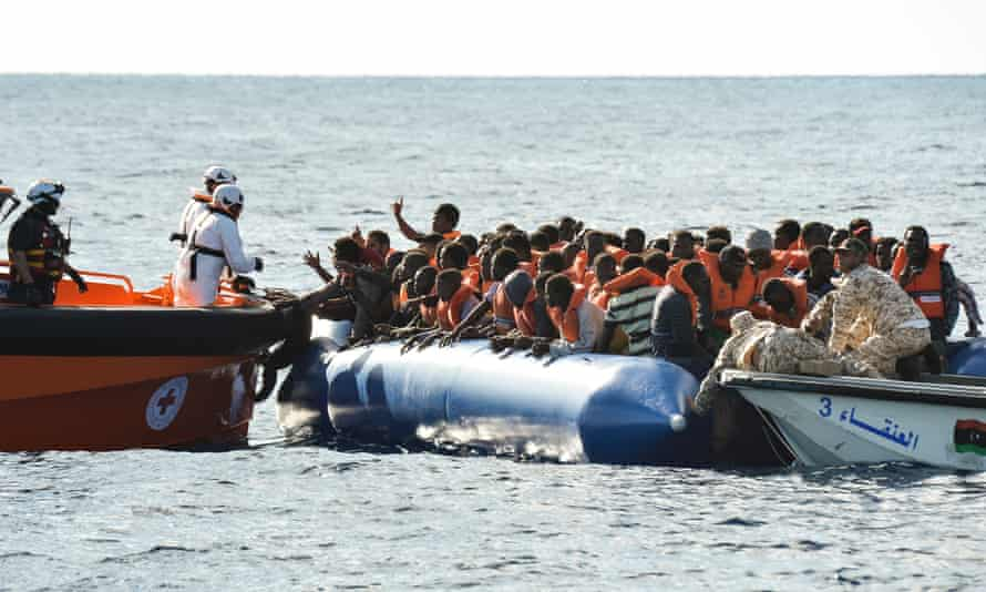People trying to cross the Mediterranean are rescued