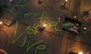 'Berta lives' is written in chalk on a street in Tegucigalpa, Honduras, on 8 March – International Women's Day.