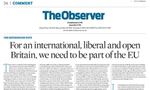 Observer's editorial calling for Britain to vote remain.