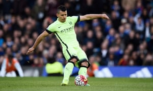 Sergio Aguero scores this hat-trick from the spot.