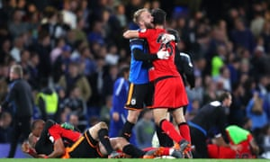 Huddersfield Town celebrate avoiding relegation.