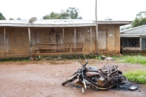 Burned motorcycles on a road