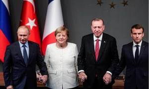 Russia's president Vladimir Putin, Germany's chancellor Angela Merkel, Turkey's president Recep Tayyip Erdogan and France's president Emmanuel Macron at the summit on Syria in Istanbul.