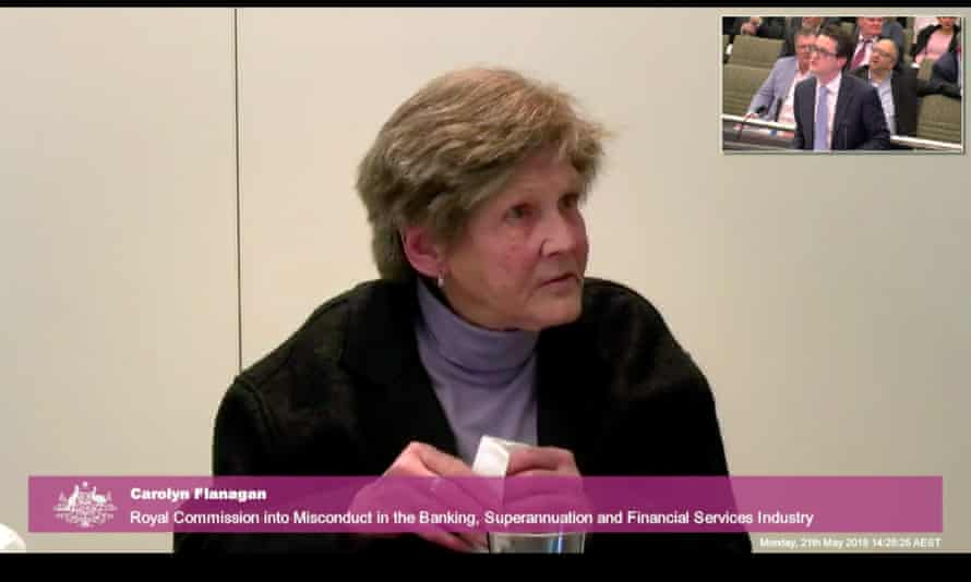 A screenshot of Carolyn Flanagan giving evidence to the Royal Commission into Misconduct in the Banking, Superannuation and Financial Services Industry via video link from Sydney, Monday, May 21, 2018. (AAP Image/Julian Smith) NO ARCHIVING
