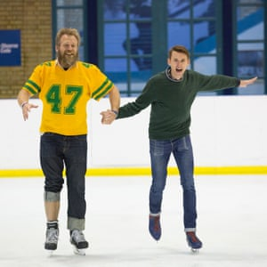 Tony Law and Tim Jonze at the rehearsal; Law's knee is now healed.