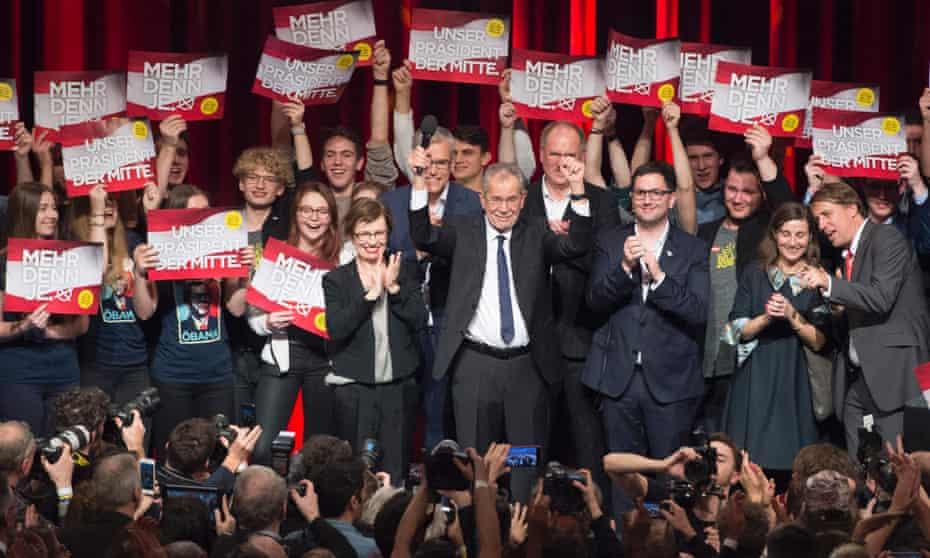 Alexander Van der Bellen celebrates with supporters.