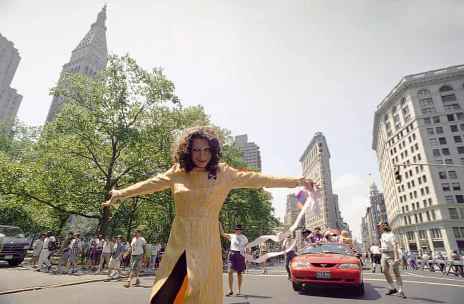 Sylvia Rivera leads the Act-Up march past New York's Madison Square Park in 1994.