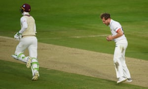 Sam Cook of Essex celebrates the wicket of Eddie Byrom of Somerset.