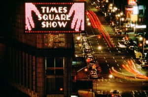 Jane Dickson's animated Spectacolor ad for a Times Square billboard, 1980, photo by John Marchael.