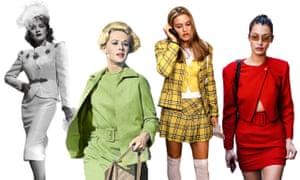 Rocking the skirt suit: Marlene Dietrich 1942, Tippi Hedren 1963, Alicia Silverstone 1995 and Bella Hadid 2017