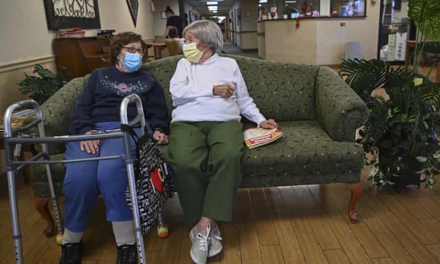 Carmela Sileo, left, and Susan McEachern at the Arbor Springs nursing home in Opelika, Alabama in February.