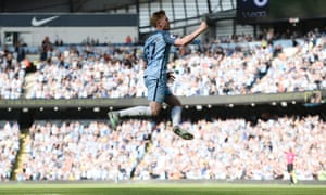 Kevin De Bruyne celebrates scoring Manchester City's opening goal against Bournemouth