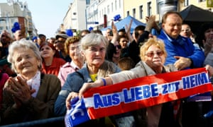 Supporters of Austrian far-right Freedom party at a rally in Vienna