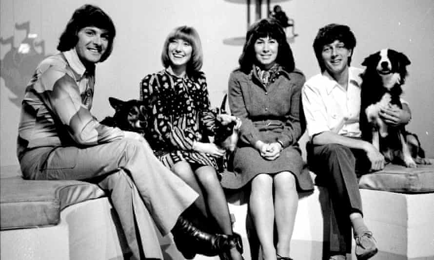 John Noakes, far right, with his fellow Blue Peter presenters, left to right, Peter Purves, Lesley Judd and Valerie Singleton.