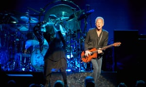Stevie Nicks, Mick Fleetwood and Lindsey Buckingham on stage in Sydney.