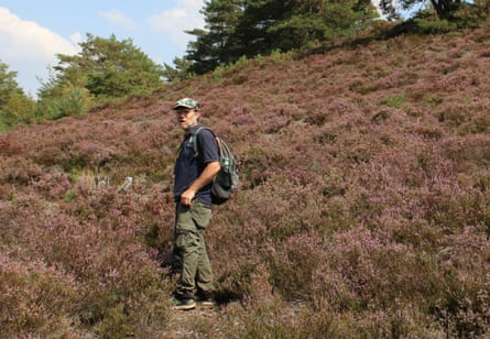 Mike Waite of the Surrey Wildlife Trust, in search of the great fox-spider.