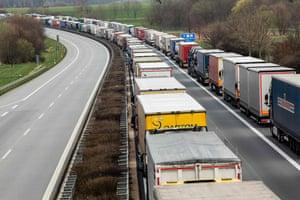 Trucks queueing last week near Germany's border with Poland.