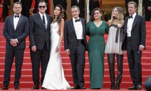 Leonardo DiCaprio, Quentin Tarentino and his wife, Daniella Pick, producers David Heyman and Shannon McIntosh, Margot Robbie and Brad Pitt at Tarantino's Once Upon a Time … in Hollywood premiere at Cannes.
