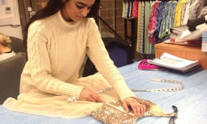 Razina Bapu works as a pattern-cutting apprentice at Fashion Enter in Harringay.