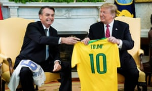 Donald Trump meets with Jair Bolsonaro at the White House in Washington DC, on 19 March.