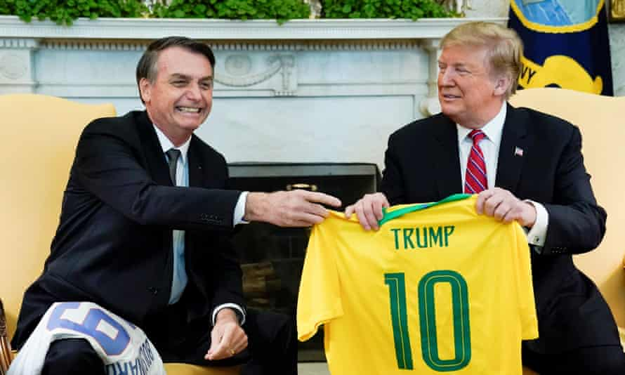Brazil's Jair Bolsonaro at the White House with Donald Trump.