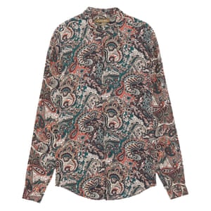 green brown beige pink paisley shirt Zara
