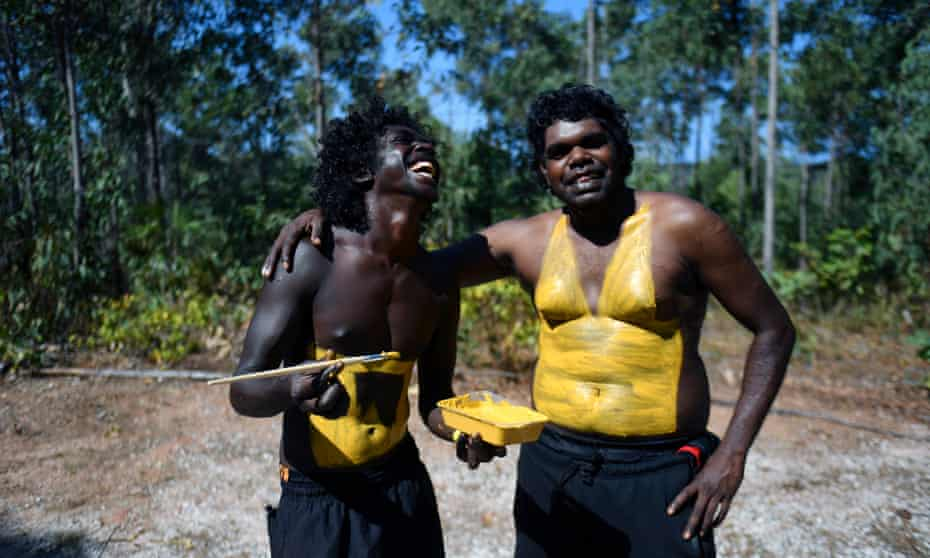 Members of the Gumatj clan of the Yolngu people prepare for the Bunggul traditional dance at the Garma festival on Friday