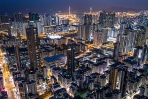Commercial and residential buildings in Hong Kong at night