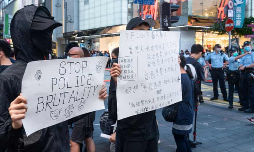 Protesters in Hong Kong on 4 June.