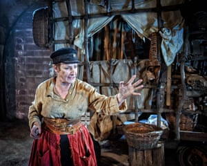 Pauline McLynn in Red Ladder theatre company's 2018 promenade production in a Leeds warehouse