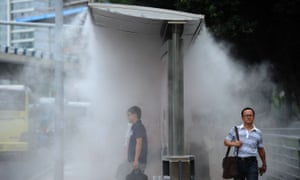 Sprayers installed to cool people down at bus stops in Chongqing, China.